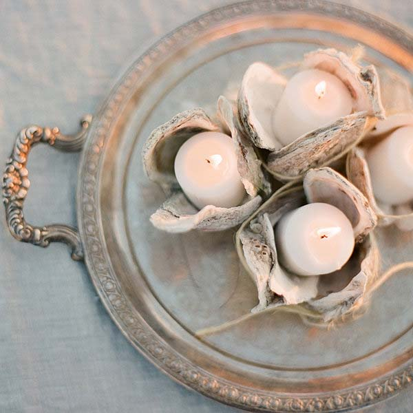 Oyster Candle Holders | Coastal Wedding Decor | photo by Jose Villa