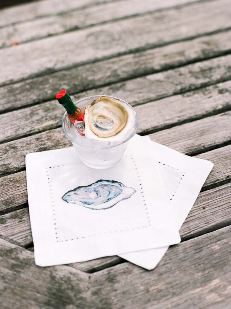 Watercolor Oyster Cocktail Napkin | Coastal Wedding Decor Ideas | photo by Melissa Shollaert Photography