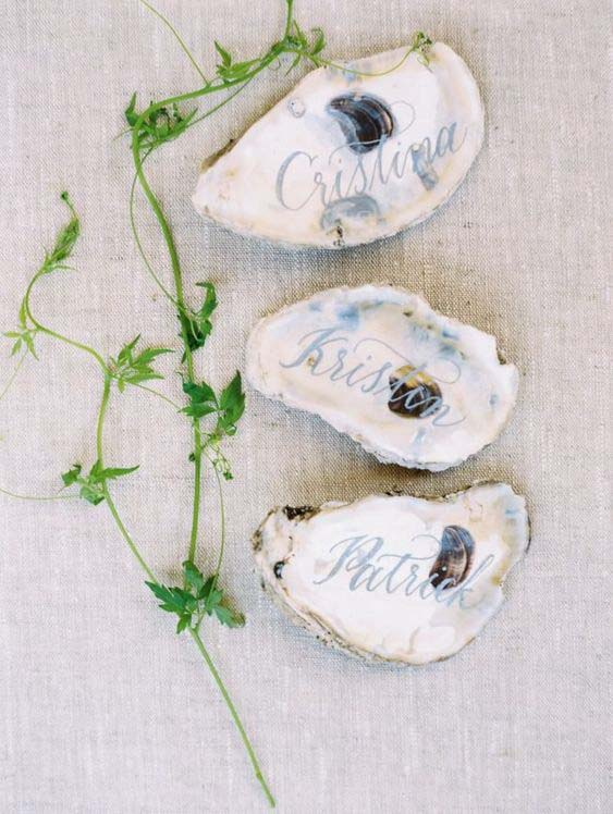 Oyster Wedding Place Card with Blue Calligraphy | photo by A Bryan Photo