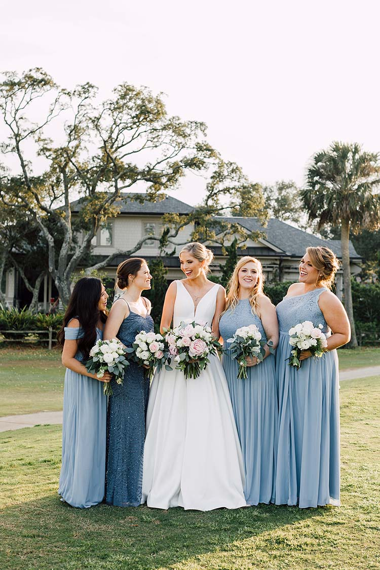 Bridesmaids with Dusty Blue Dresses | photo by Madison Hope Photography | featured on I Do Y'all