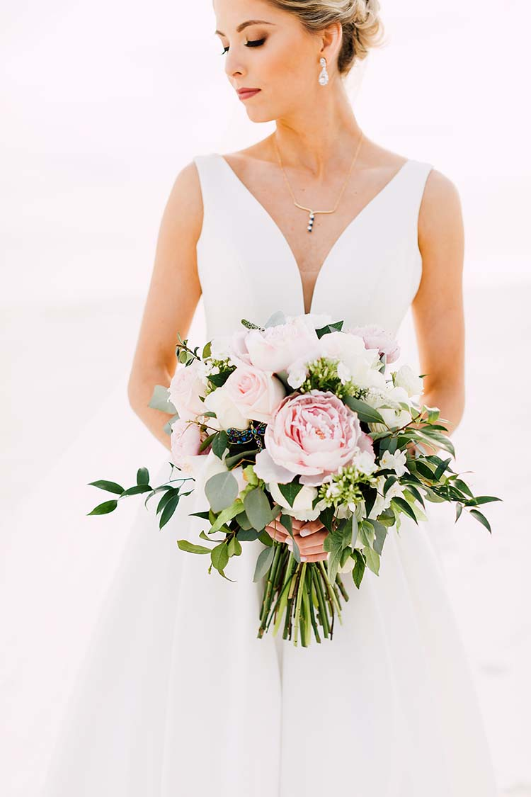 Lush Wedding Bouquet with Peonies and Roses | photo by Madison Hope Photography | featured on I Do Y'all