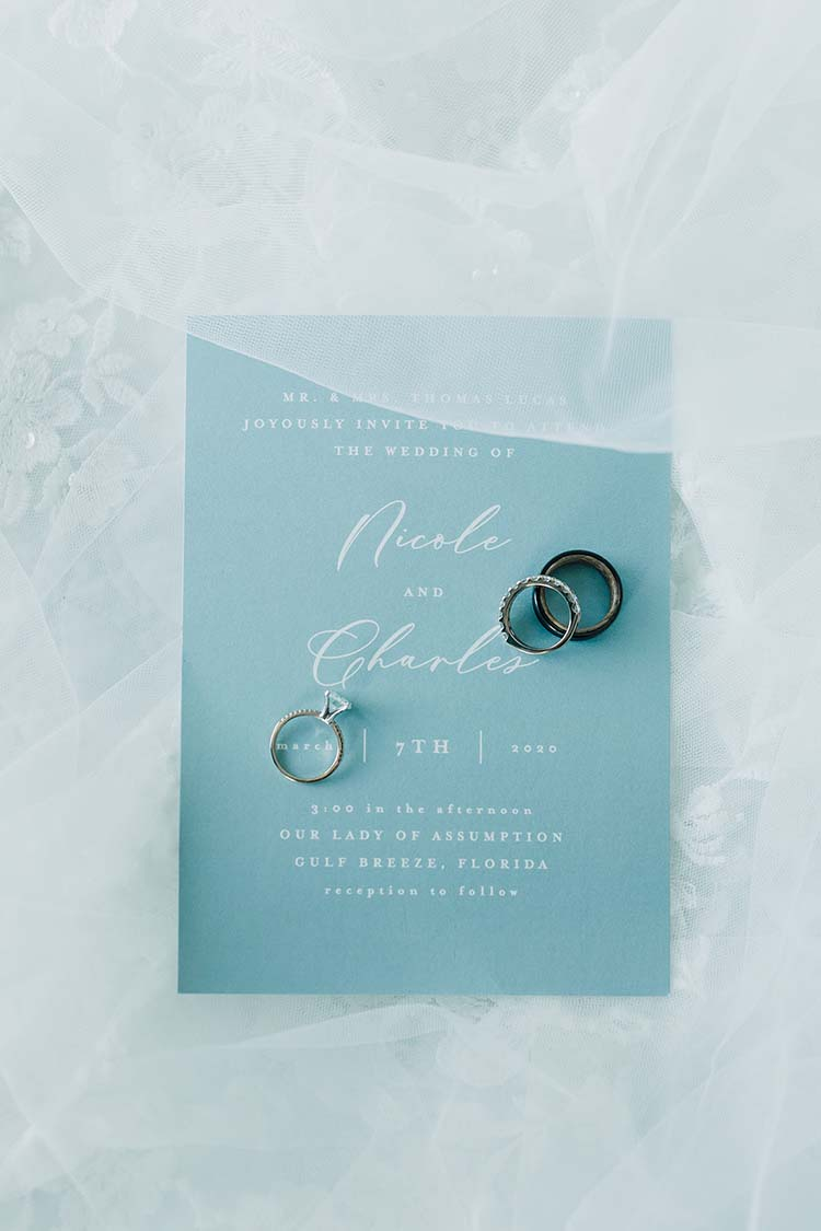 Blue Modern Classic Wedding Invitation | photo by Madison Hope Photography | featured on I Do Y'all