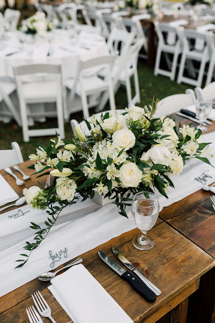 White Wedding Reception with Farm Tables | photo by Madison Hope Photography | featured on I Do Y'all