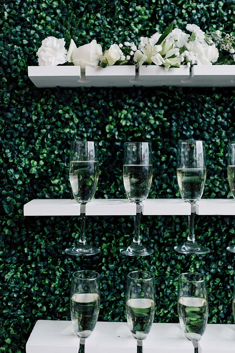 Champagne Wall with Boxwood Hedge and Neon Sign | photo by Madison Hope Photography | featured on I Do Y'all