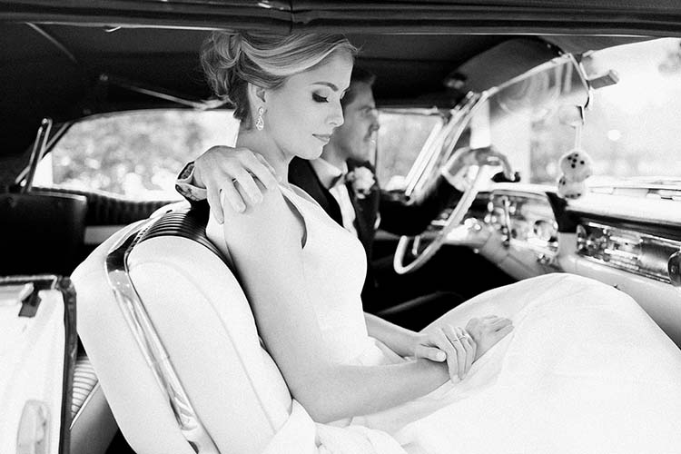 Bride & Groom Driving in Classic Car | photo by Madison Hope Photography | featured on I Do Y'all