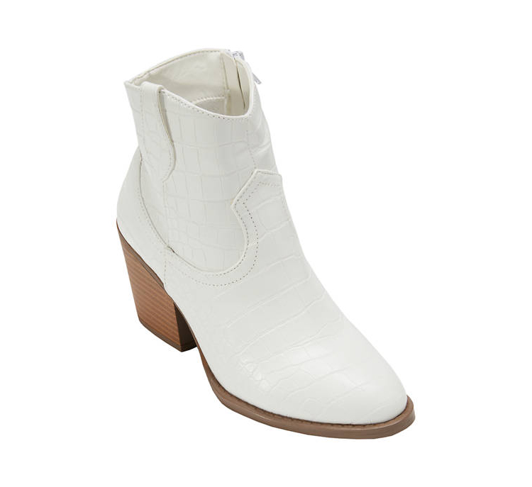 White Crocodile Booties from Belk for Wedding Shoes That Aren't 6 Inch Heels