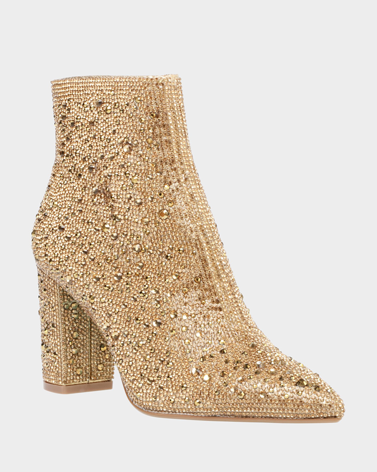 Gold Sparkly Booties from Betsey Johnson featured in Wedding Shoes That Aren't 6 Inch Heels