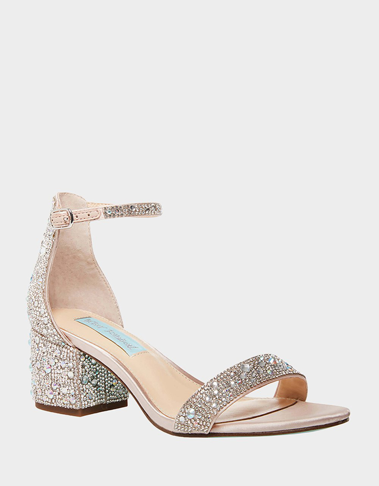 Sparkly Blue by Betsey Johnson Chunky Heel | Wedding Shoes That Aren't 6 Inch Heels