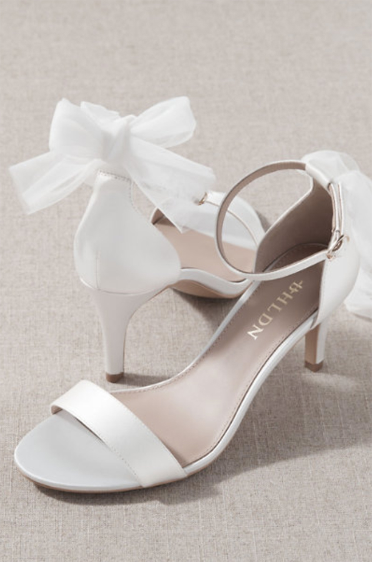 White Wedding Heels with Bow on Back from BHLDN | Wedding Shoes That Aren't 6 Inch Heels