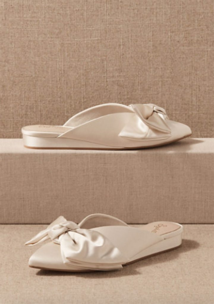 White Wedding Mules Shoes with Bows from BHLDN | Wedding Shoes That Aren't 6 Inch Heels