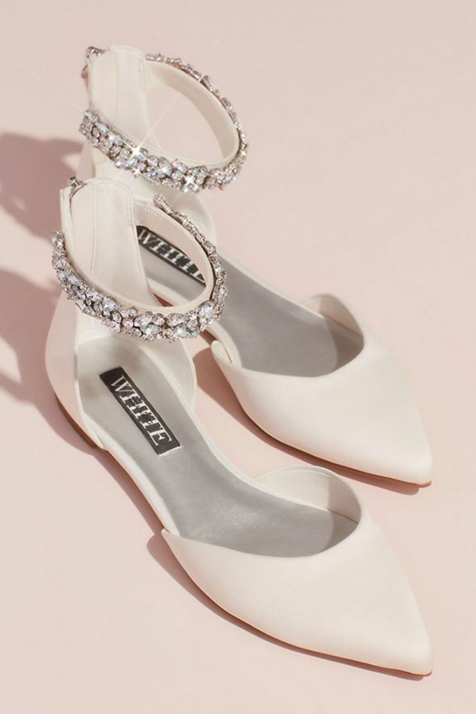Vera Wang at David's Bridal White Pointed Toe Flats with Sparkling Ankle Cuff | Wedding Shoes That Aren't 6 Inch Heels