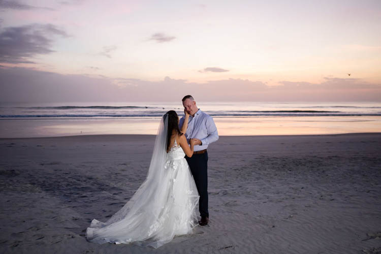 Sunrise Beach First Look Before Elopement | photo by  Dreamscape Photography, LLC