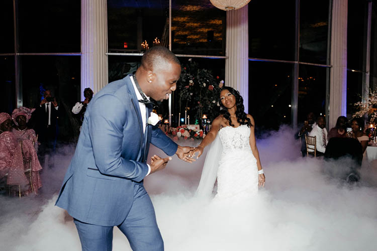 First Dance with Fog Machine at Glamorous Wedding | photo by The Portos