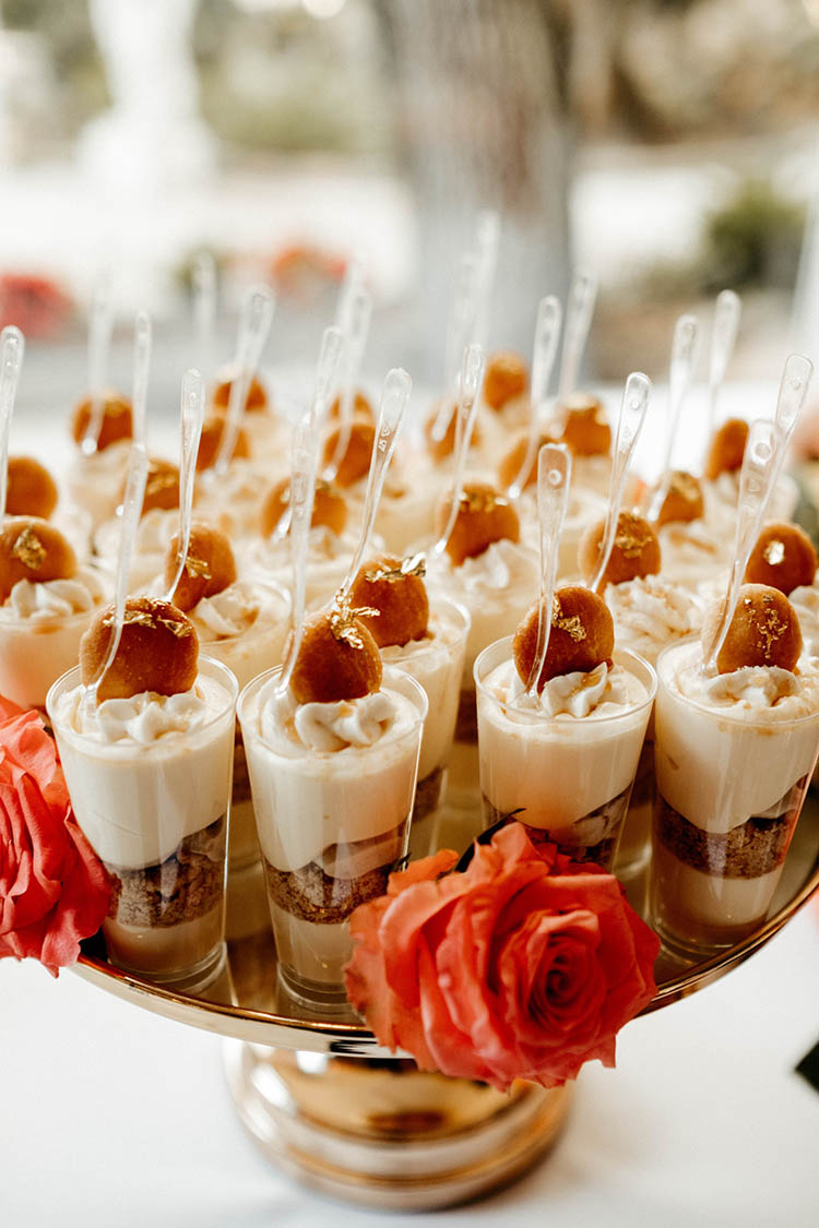 Banana Pudding Shooters with Gold Foil for Wedding Food | photo by The Portos