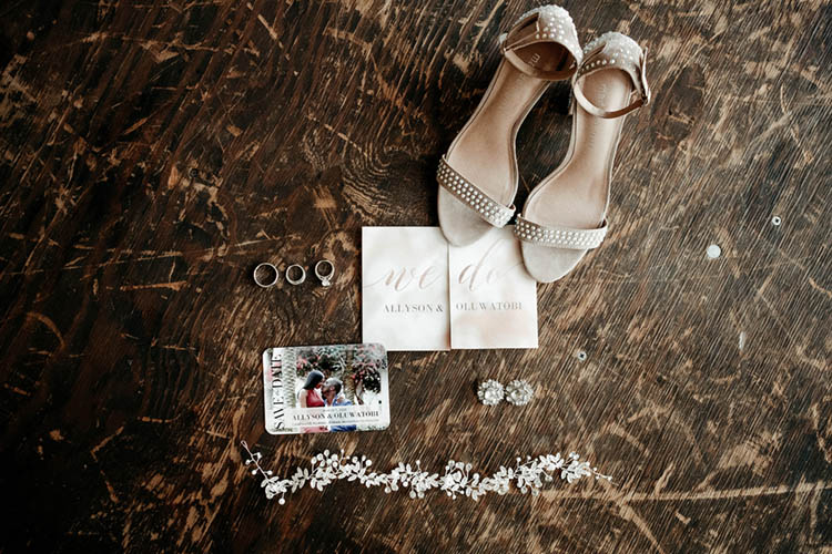 Glamorous Wedding Details like Diamond Hair Accesorry and Beige Heels | photo by The Portos