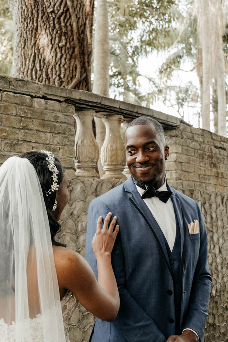 First Look at Glamorous Wedding | photo by The Portos