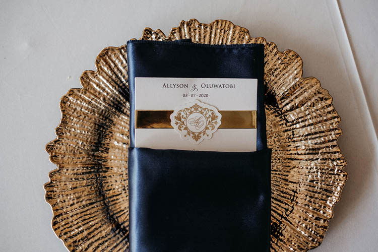 Gold Ripple Edged Chargers with Silk Blue Napkins & Wedding Menu | photo by The Portos