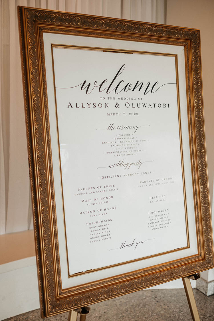 Glamorous Gold Framed Welcome Sign | photo by The Portos