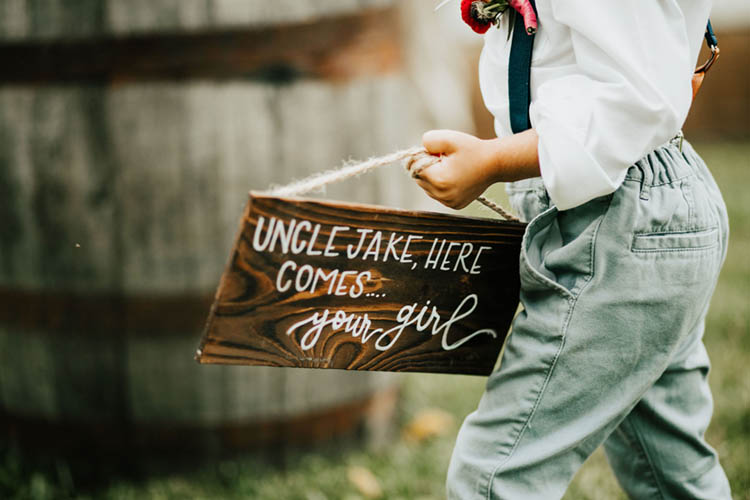 Uncle Here Comes Your Girl Wooden Wedding Sign for Ring Bearer | photo by Jessica Lee Photographic Art