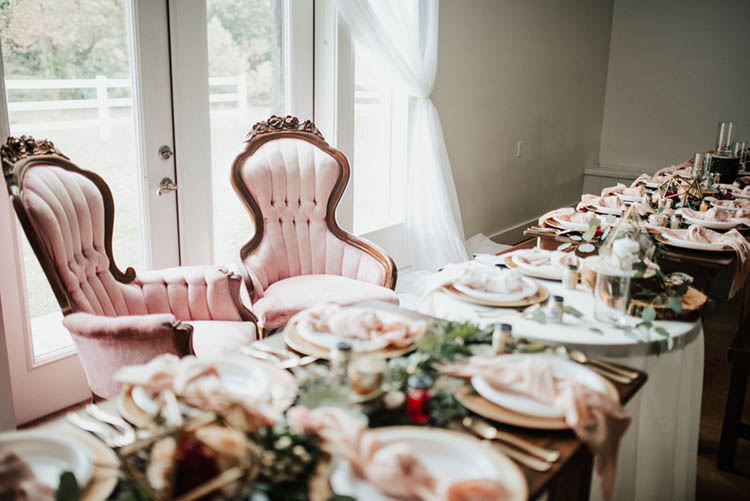 Pink Velvet Antique Chairs for Bride & Groom at Head Table | photo by Jessica Lee Photographic Art