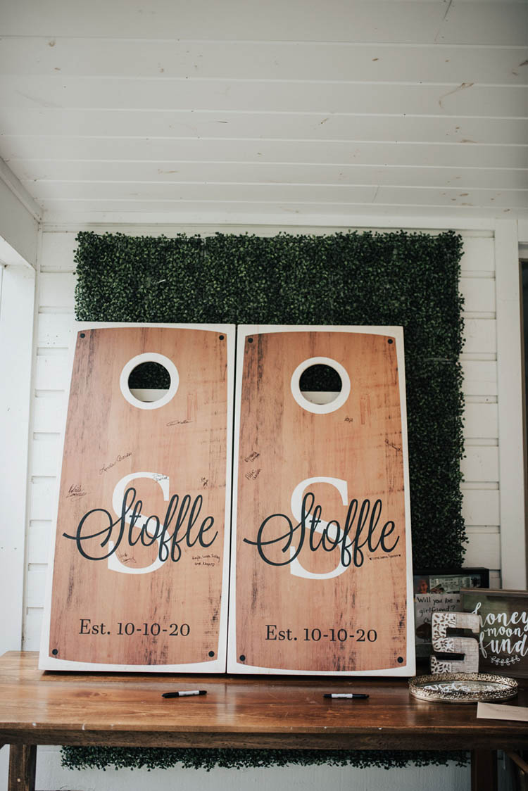 Wedding Cornhole Boards as Guestbook | photo by Jessica Lee Photographic Art