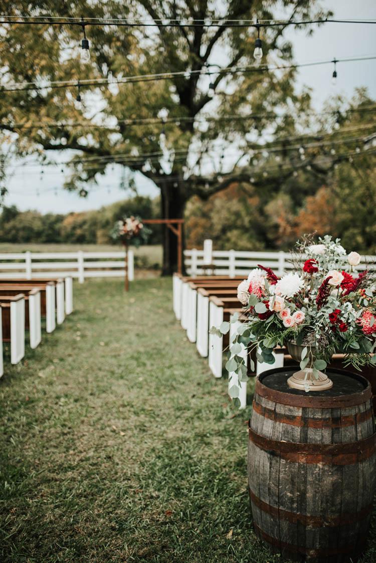 Burgundy & Pink Fall Wedding Ceremony Decor | photo by Jessica Lee Photographic Art