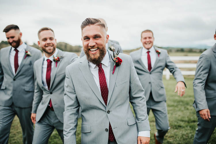 Groomsmen in Gray Suits and Burgundy Ties | photo by Jessica Lee Photographic Art