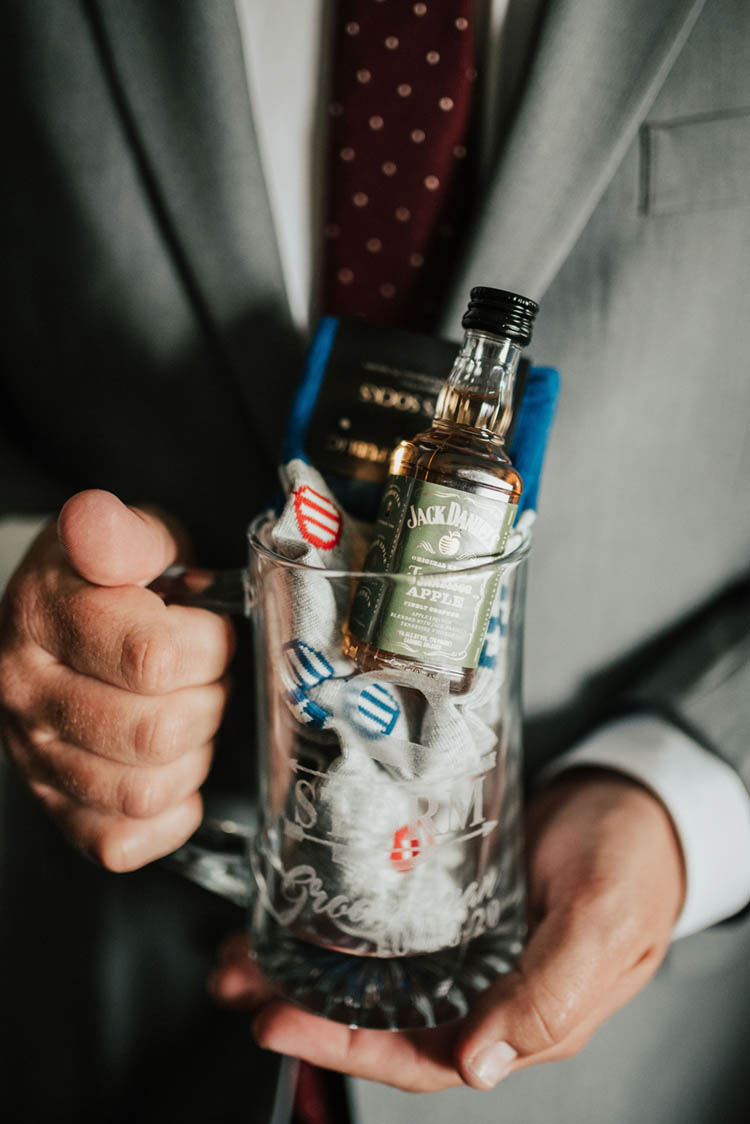 Groomsmen Gift in Beer Glass with Socks & Mini Bottle of Jack Daniels | photo by Jessica Lee Photographic Art