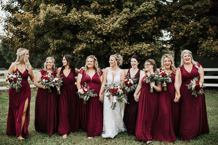 Gorgeous Burgundy Bridesmaids Dresses | photo by Jessica Lee Photographic Art
