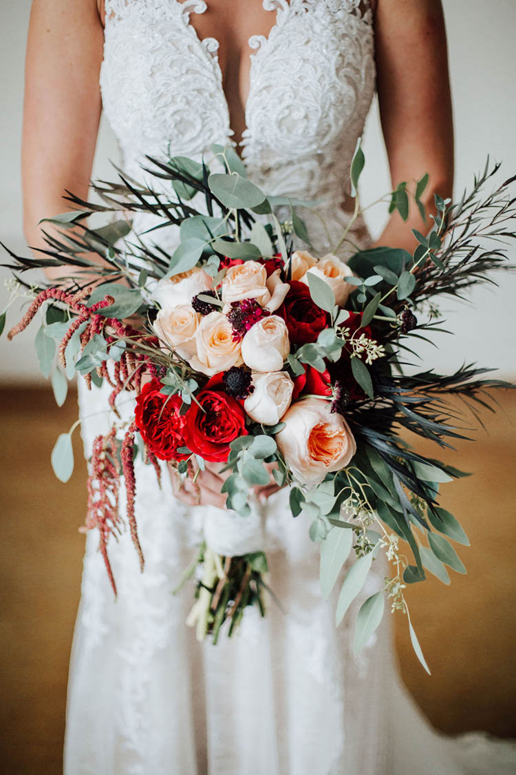 Gorgeous Fall Wedding Bouquet with Red & Peach Roses | photo by Jessica Lee Photographic Art