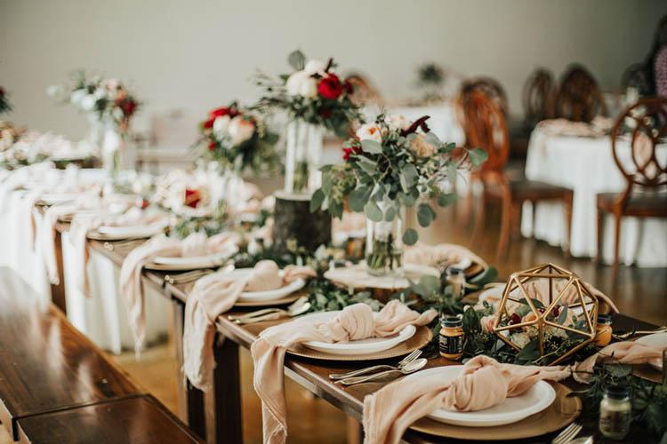 Romantic Pink & Burgundy Wedding Reception Decor | photo by Jessica Lee Photographic Art