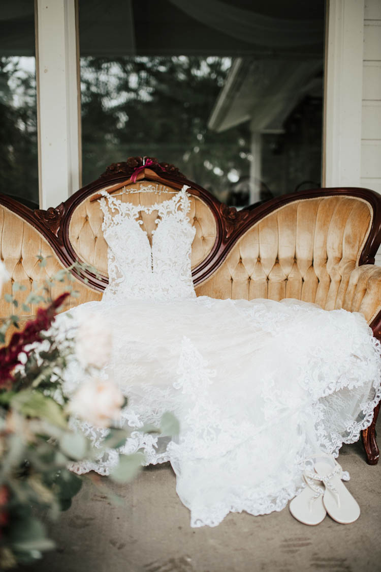 Lace Wedding Dress on Antique Sofa | photo by Jessica Lee Photographic Art