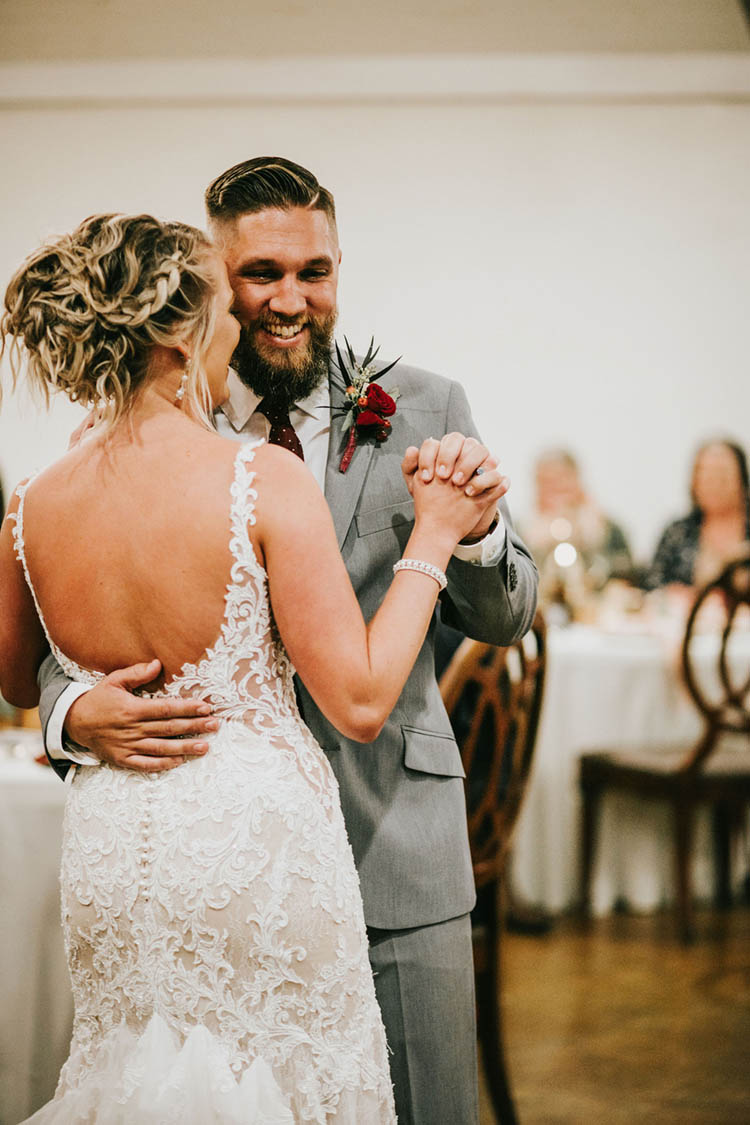 First Dance as Married Couple at Gorgeous Burgundy & Pink Fall Wedding | photo by Jessica Lee Photographic Art