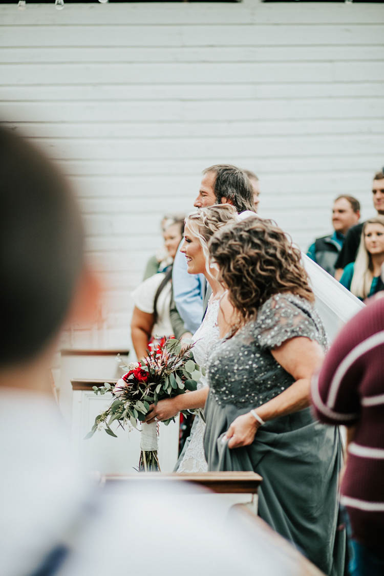 Bride Walking Down Aisle with Both Father & Mother | photo by Jessica Lee Photographic Art
