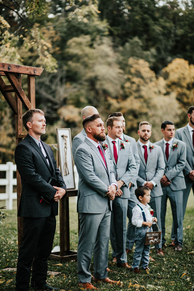 Groom Seeing Bride Walk Down the Aisle at Fall Wedding | photo by Jessica Lee Photographic Art