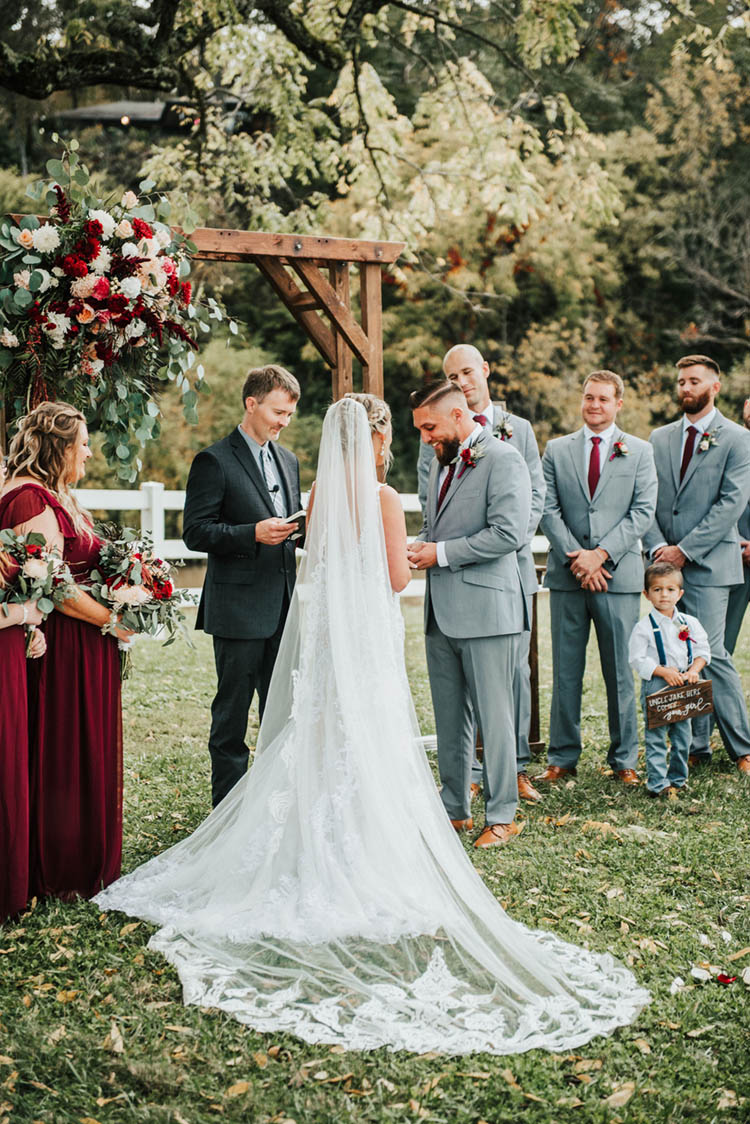 Gorgeous Burgundy & Pink Fall Wedding Ceremony | photo by Jessica Lee Photographic Art
