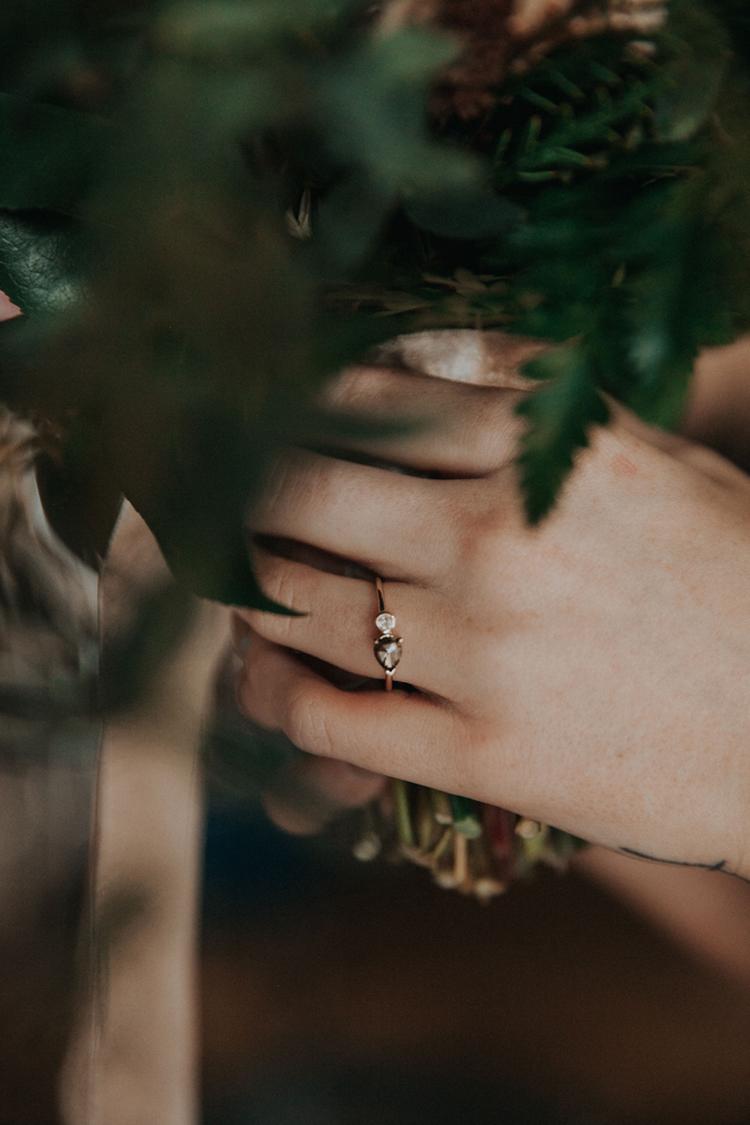Unique Boho Wedding Engagement Ring | photo by Deltalow