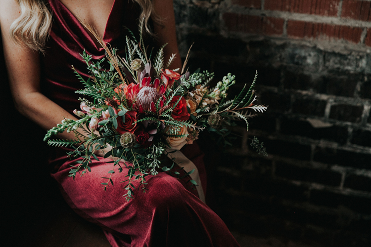 Moody Lush Wedding Bouquet with Velvet Bridesmaids Dress | photo by Deltalow