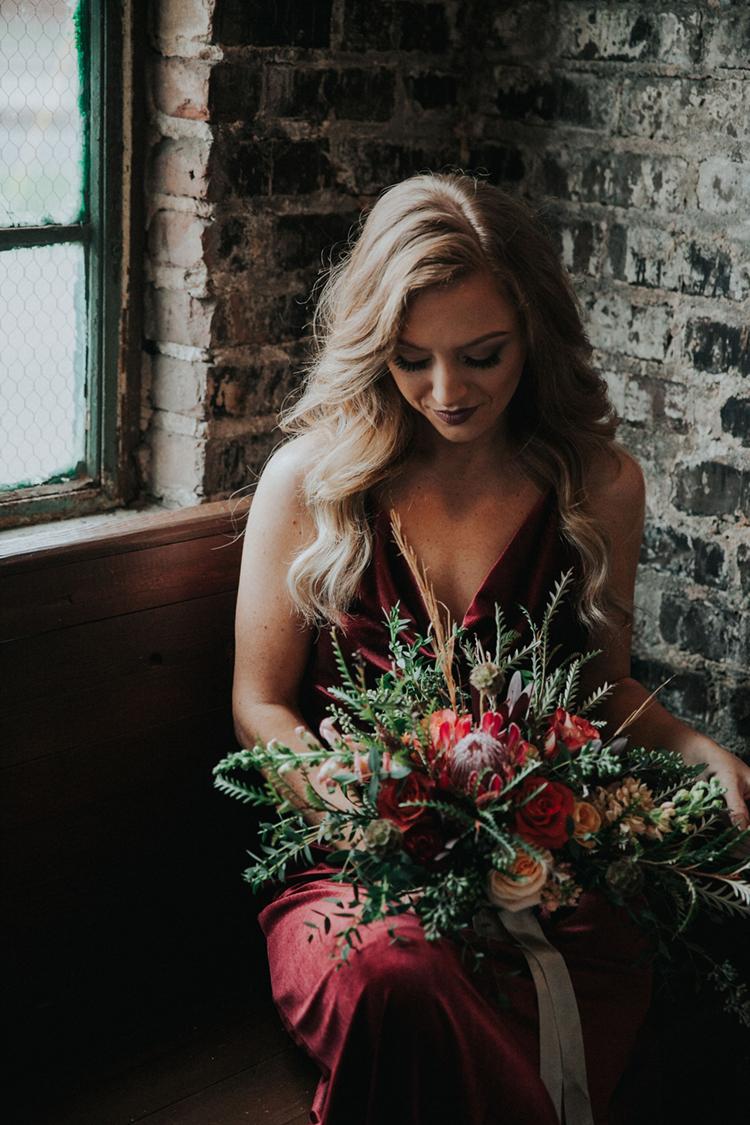 Velvet Bridesmaids Dress with Lush Bouquet | photo by Deltalow