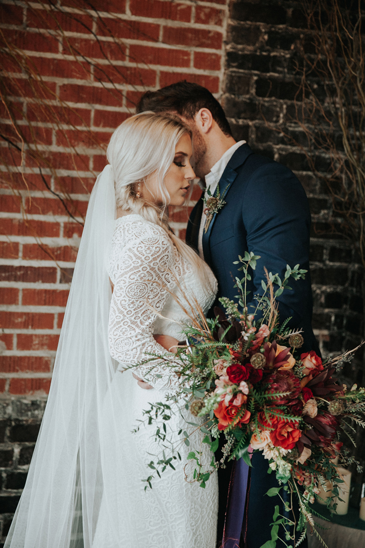 Long Sleeve Boho Wedding Dress at Moody Brewery Elopement Inspiration | photo by Deltalow