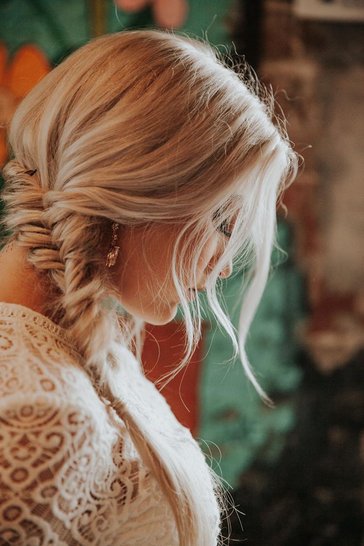Messy Fishtail Braid Wedding Hair | photo by Deltalow
