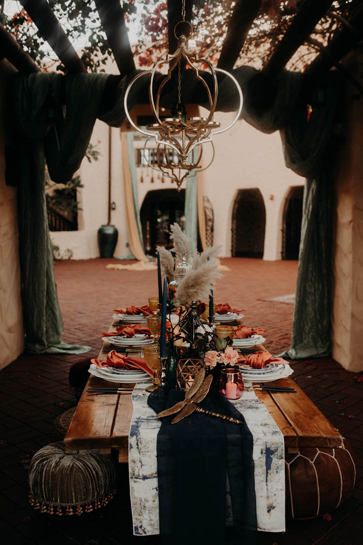 Intimate Moroccan Inspired Wedding Reception Table | photo by Boote Photography Studio
