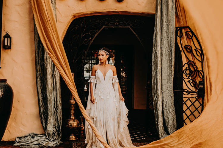 Bohemian Wedding Dress with Tassels and Gold Head Piece | photo by Boote Photography Studio