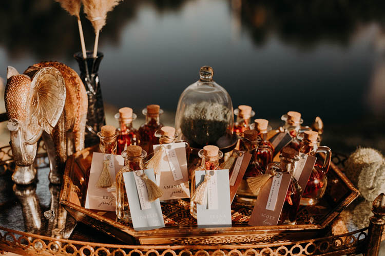 Mini Vials as Place Cards Moroccan Style Wedding Decor | photo by Boote Photography Studio