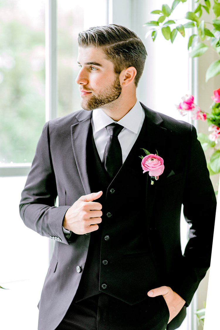 Classic Groom with Pink Boutonniere | photo by Gricelda's Photography