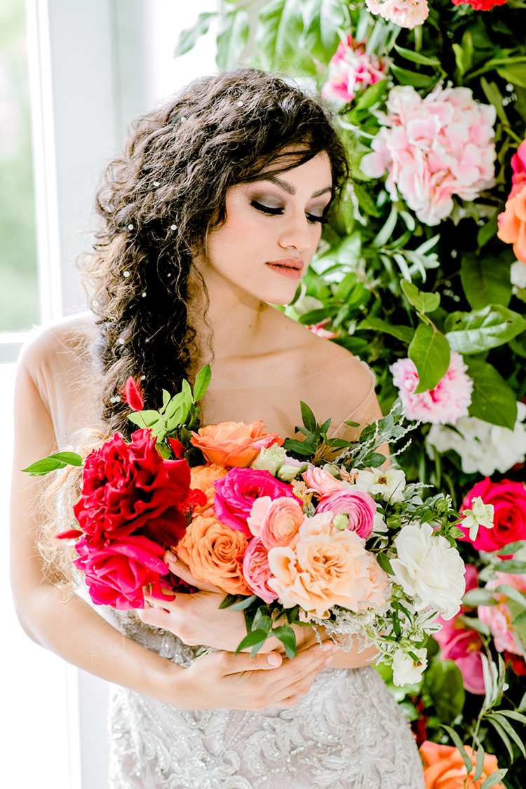 Smoky Eye Wedding Makeup for Pink Wedding Style with Awe-Inspiring Florals | photo by Gricelda's Photography