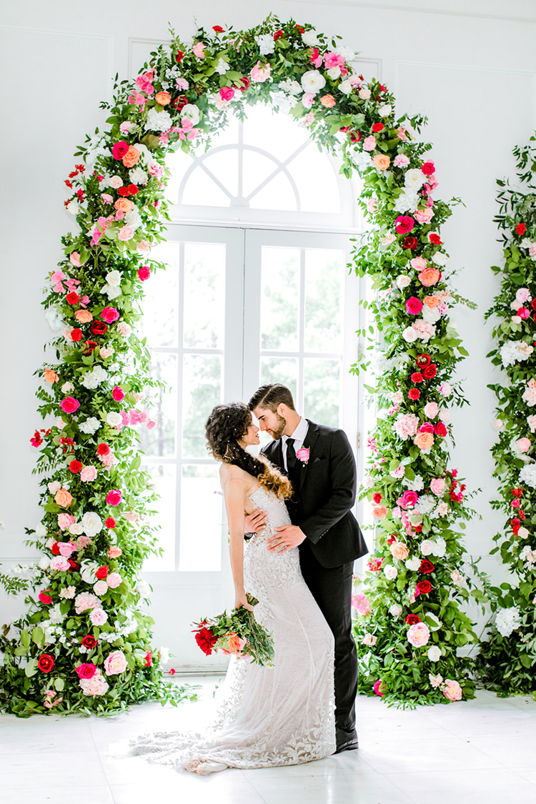 Pink Rose Floral Arches for Wedding | photo by Gricelda's Photography