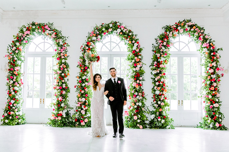 Wedding Floral Arches with Pink Roses | photo by Gricelda's Photography