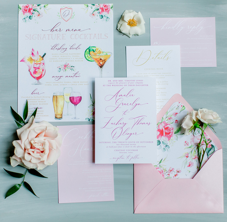 Pink Floral Wedding Invitation Suite | photo by Gricelda's Photography