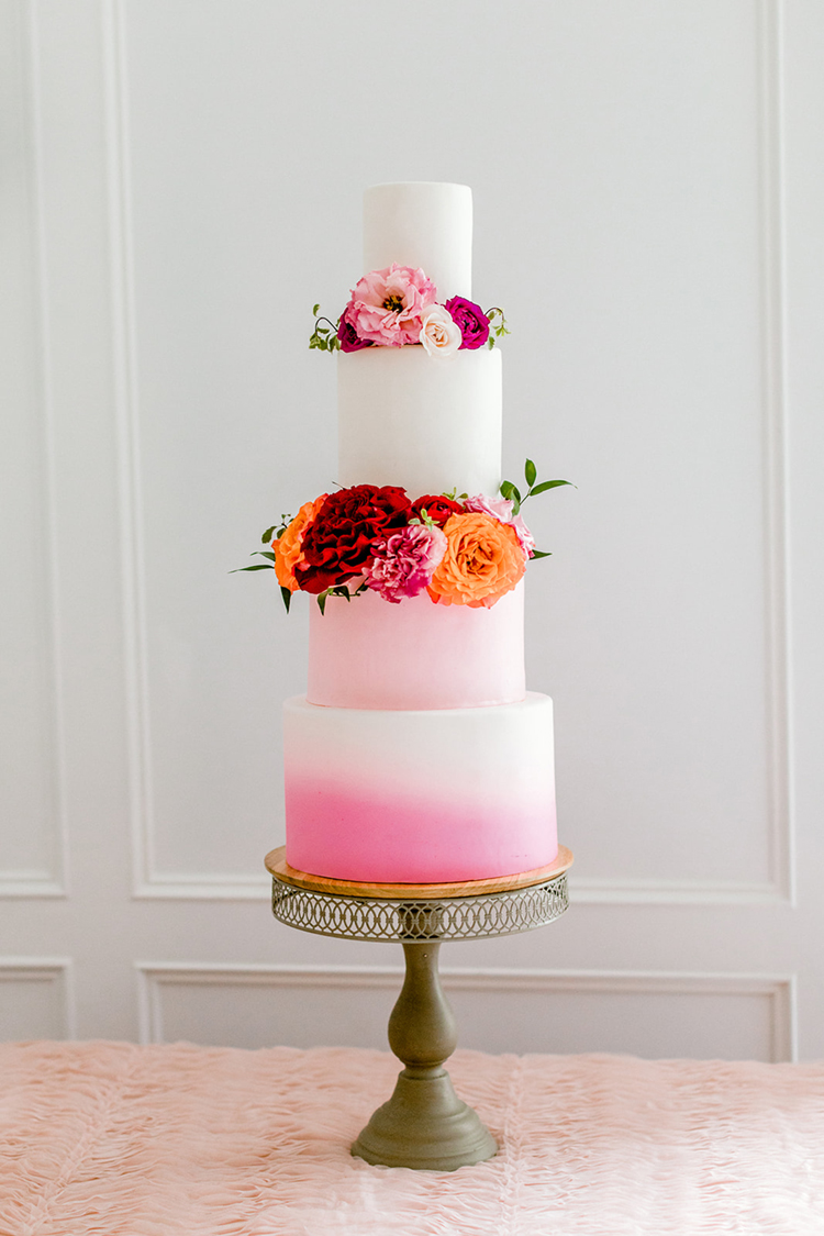 Pink Ombre Wedding Cake | photo by Gricelda's Photography